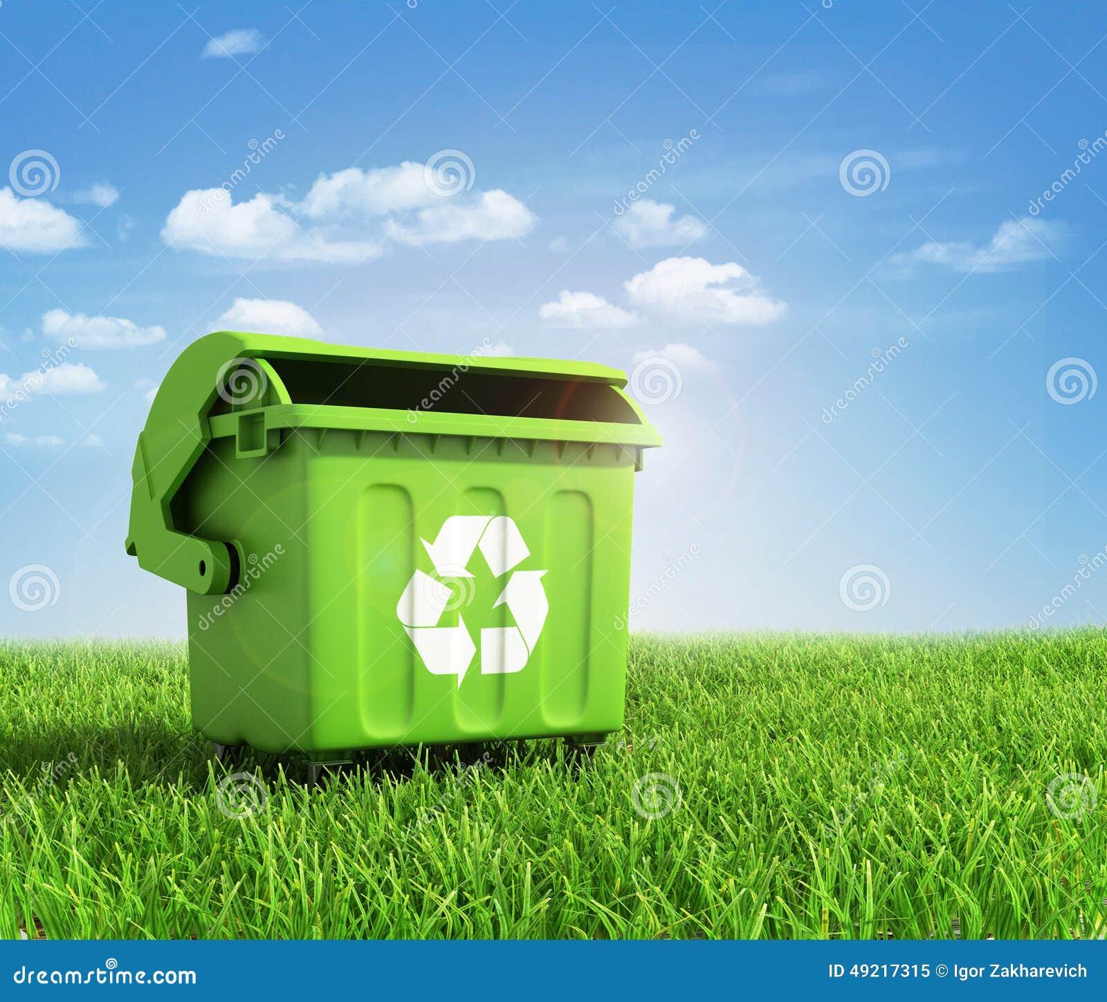 回收容器的绿色塑料垃圾