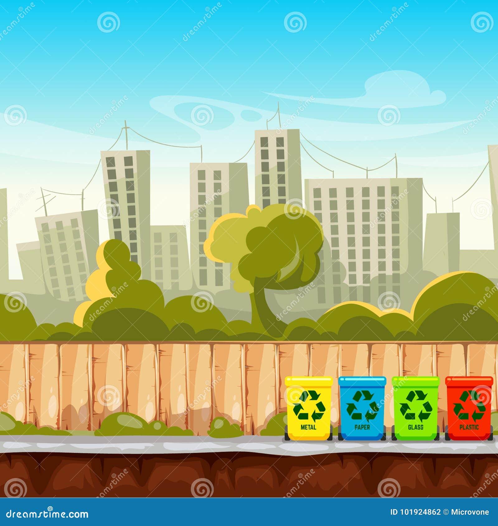 回收废物箱有都市风景背景 废物管理概念