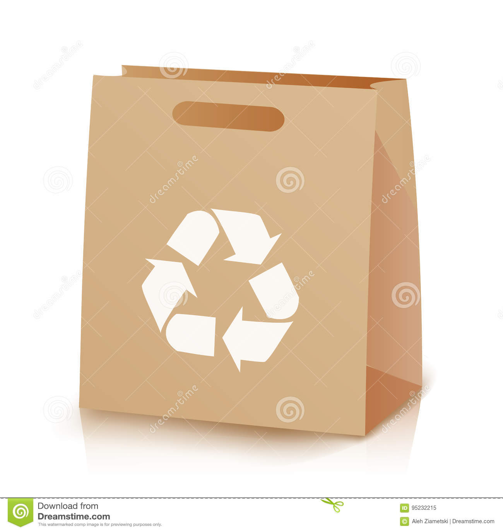 回收购物棕色袋子 被回收的布朗购物的纸袋的例证与把柄的 回收符号 查出