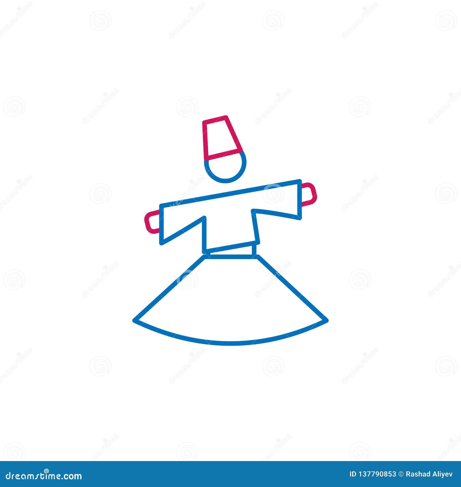 回教,sufi神秘主义者2种族分界线象 简单的蓝色和红色元素例证 回教,sufi神秘的概念概述标志设计