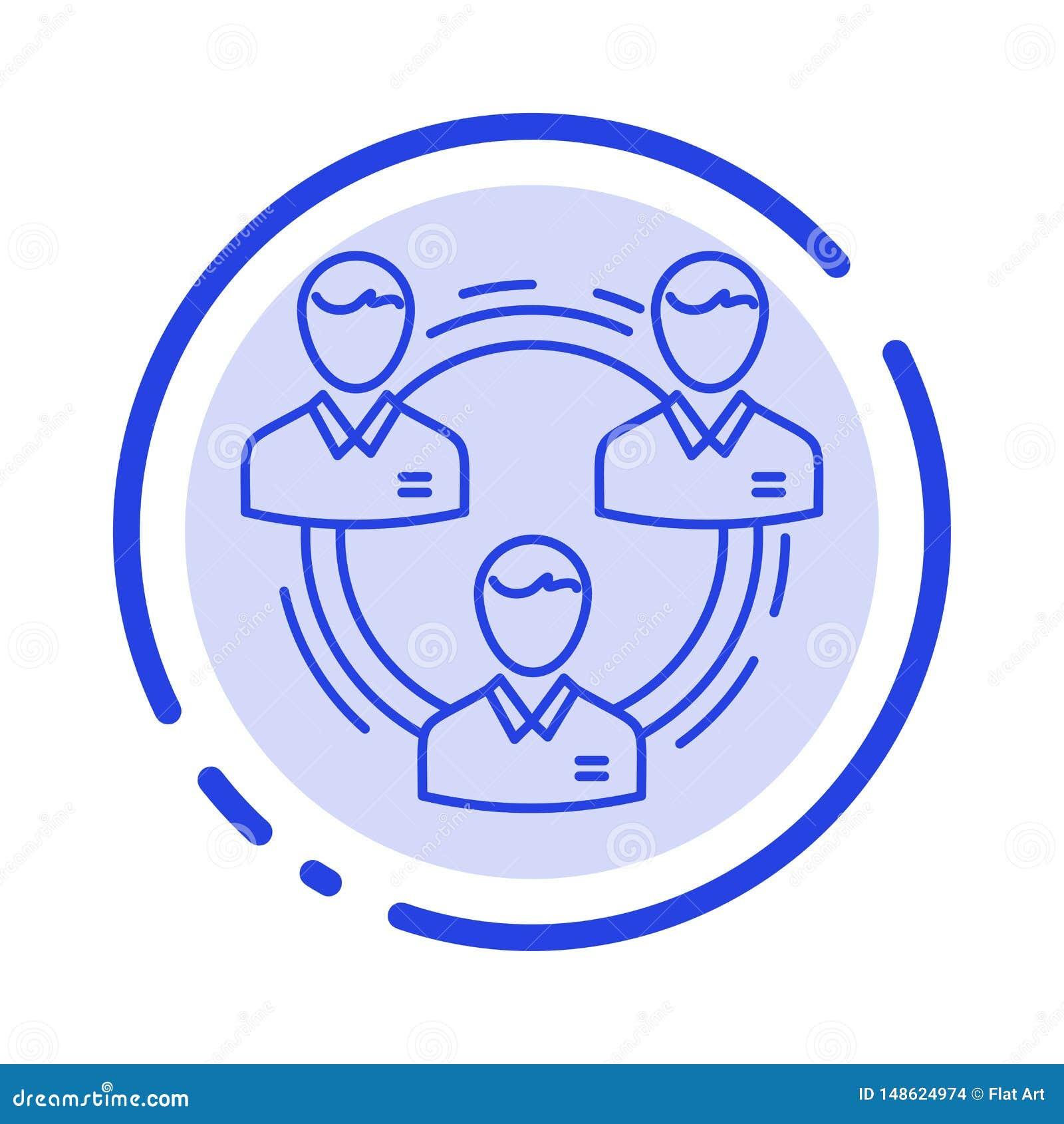 团队、业务、通信、层次、人员、社会、结构蓝点线图标