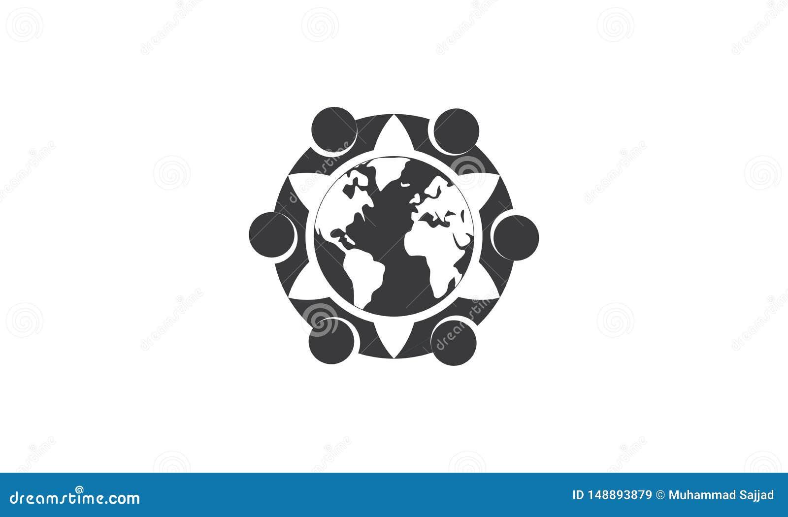 团队工作商标环球-被环绕的地球和团队工作联合人商标模板圆企业队团结的商标