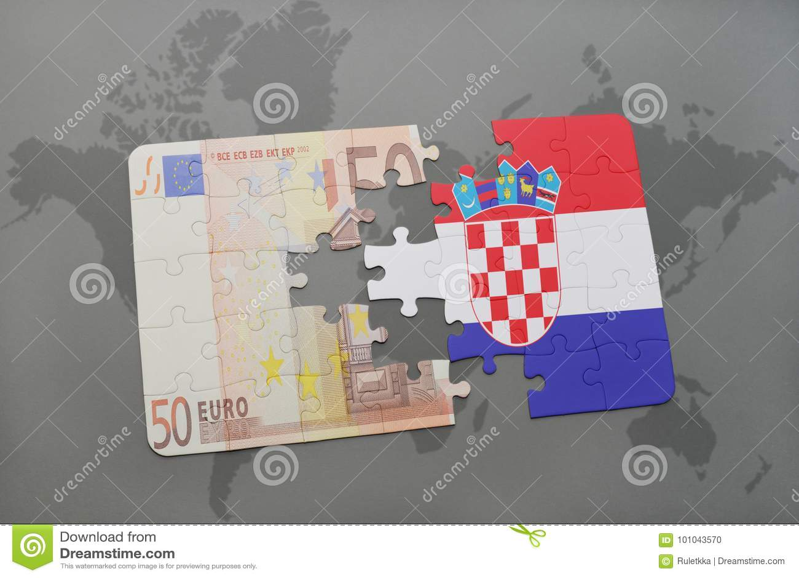 困惑与克罗地亚和欧洲钞票国旗在世界地图背景