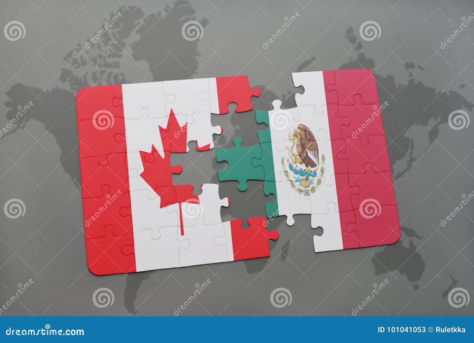 困惑与加拿大和墨西哥的国旗世界地图背景的