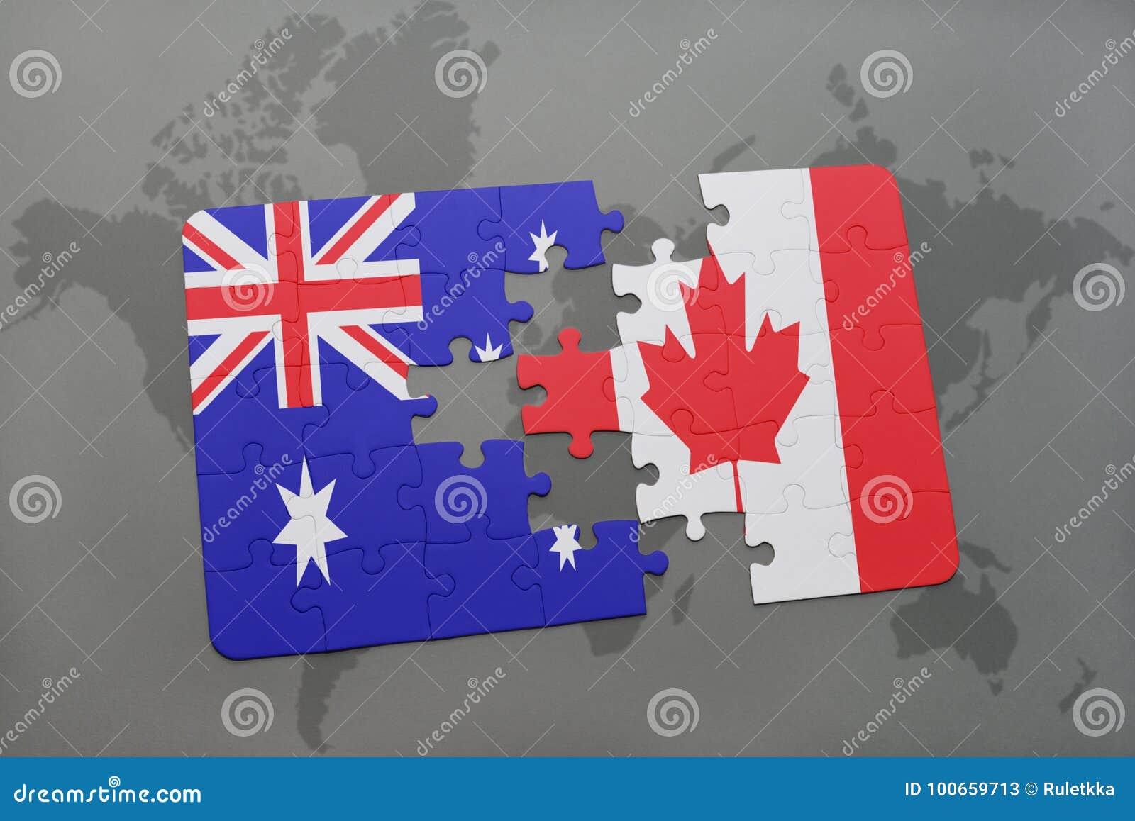 困惑与澳大利亚和加拿大的国旗世界地图背景的