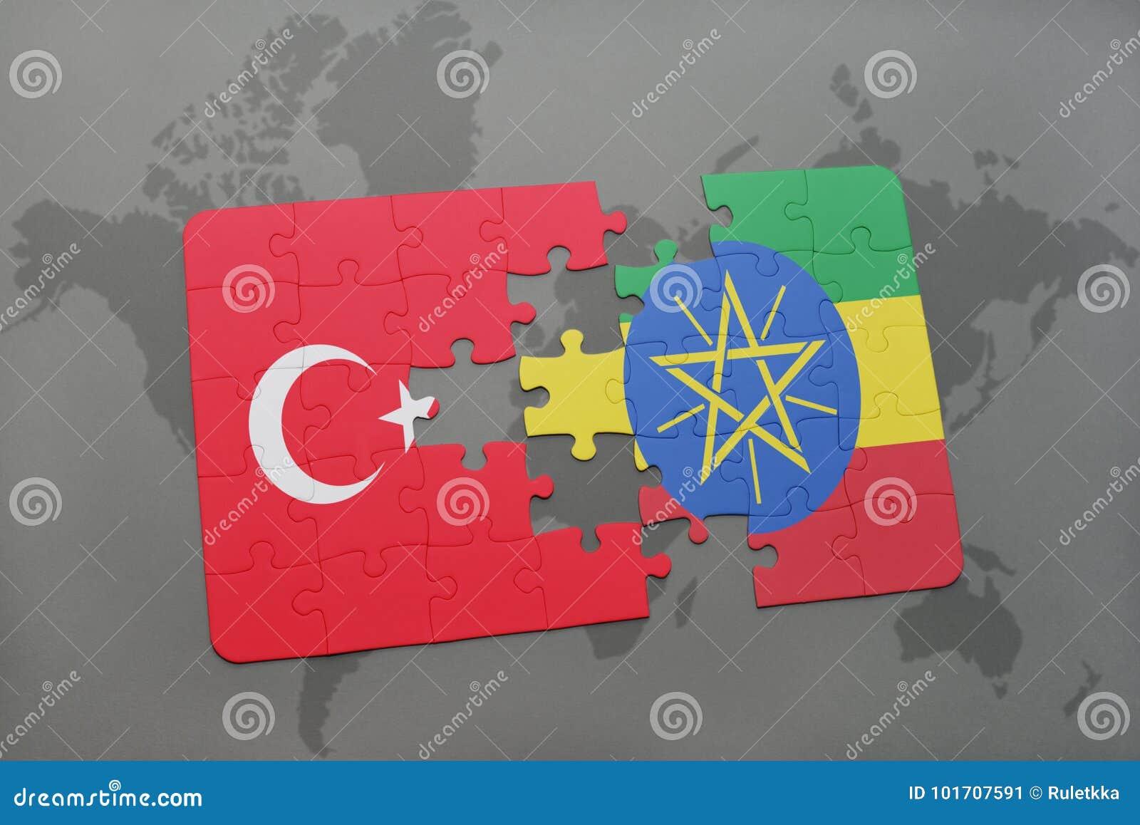 困惑与火鸡和埃塞俄比亚的国旗世界地图的