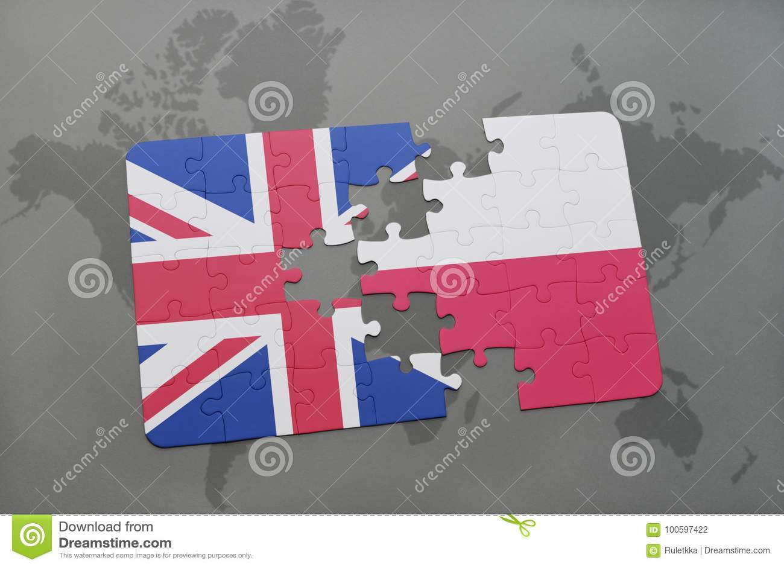 困惑与英国和波兰的国旗世界地图背景的