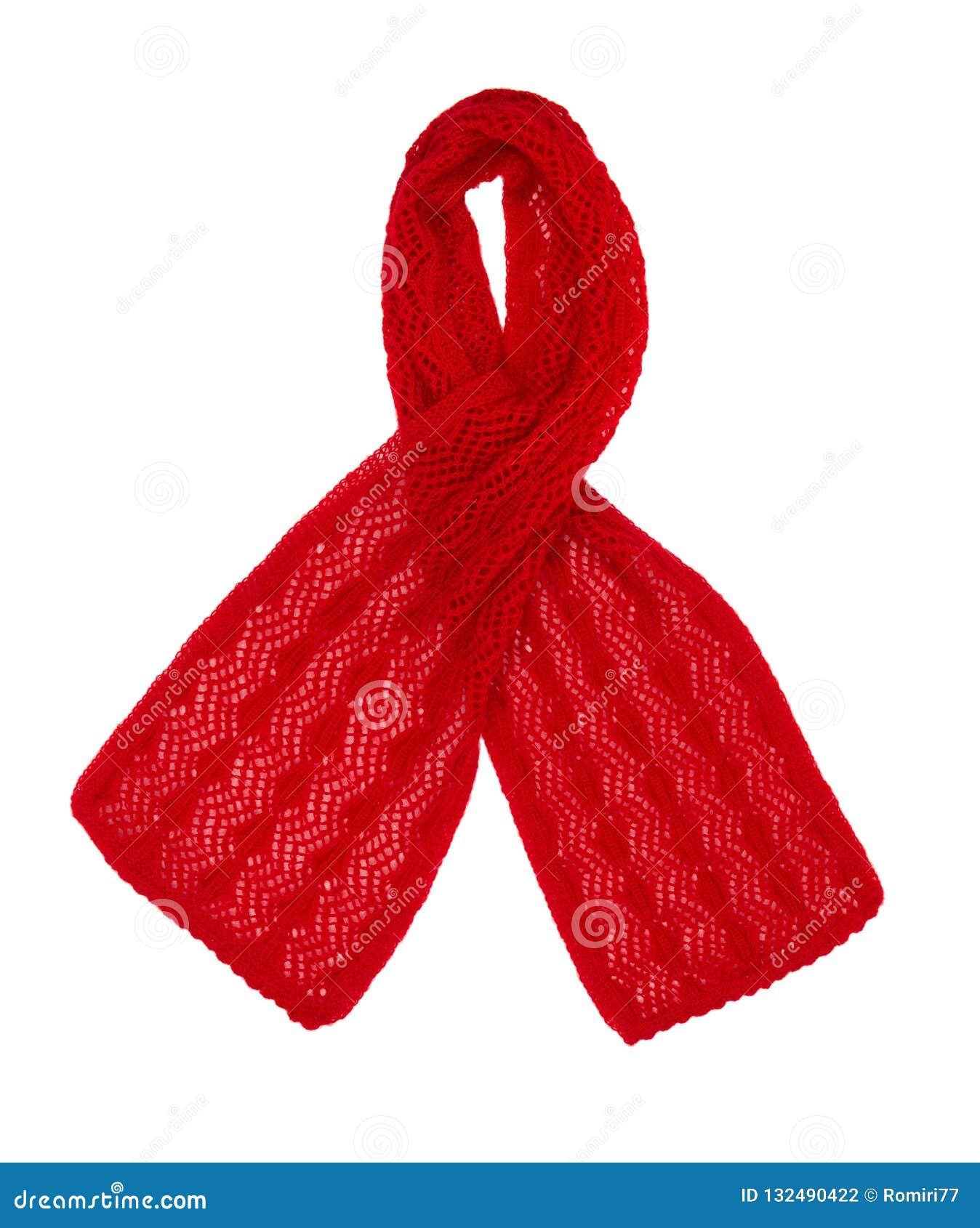 围巾被编织的手工 红色羊毛围巾