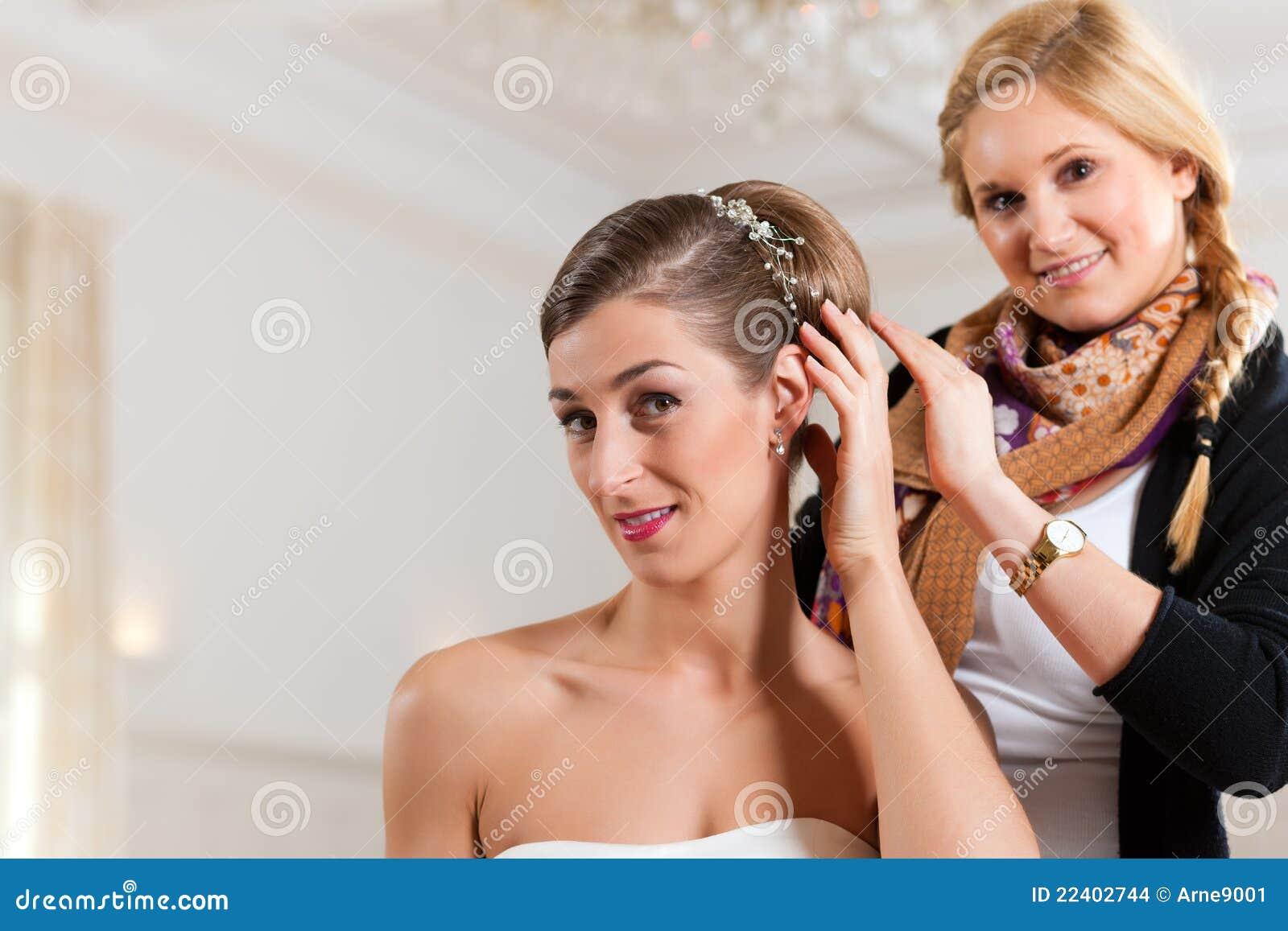 固定s美发师的新娘发型