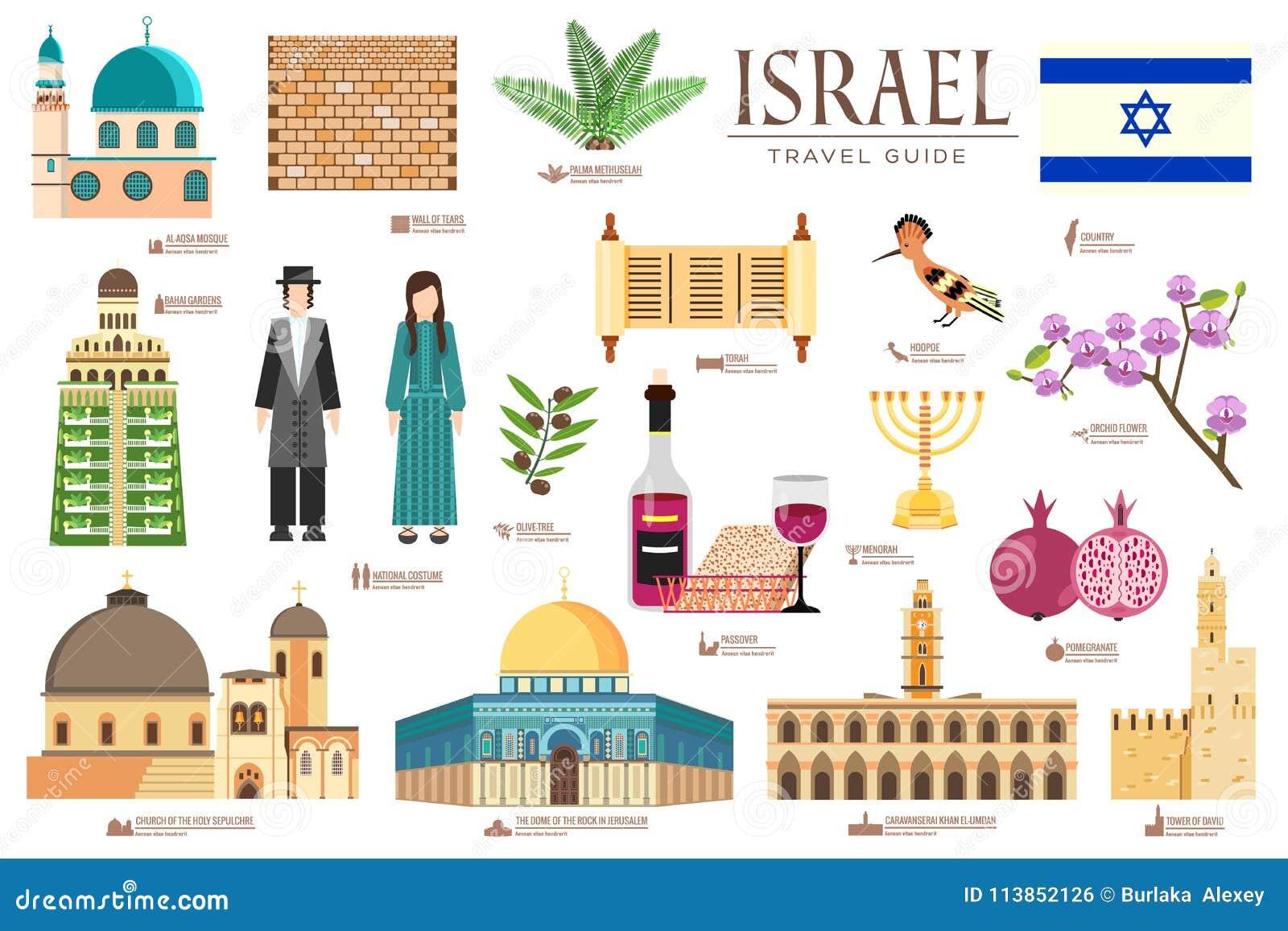 国家以色列旅行物品、地方和特点假期指南  套建筑学,时尚,人们,项目,自然