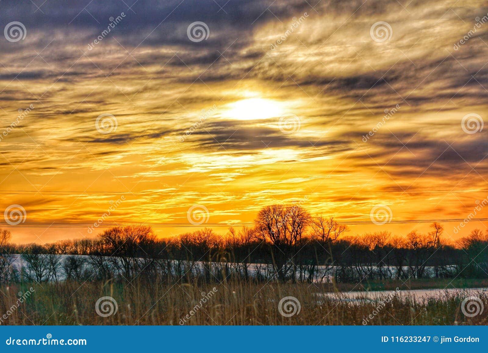国家冬天日落