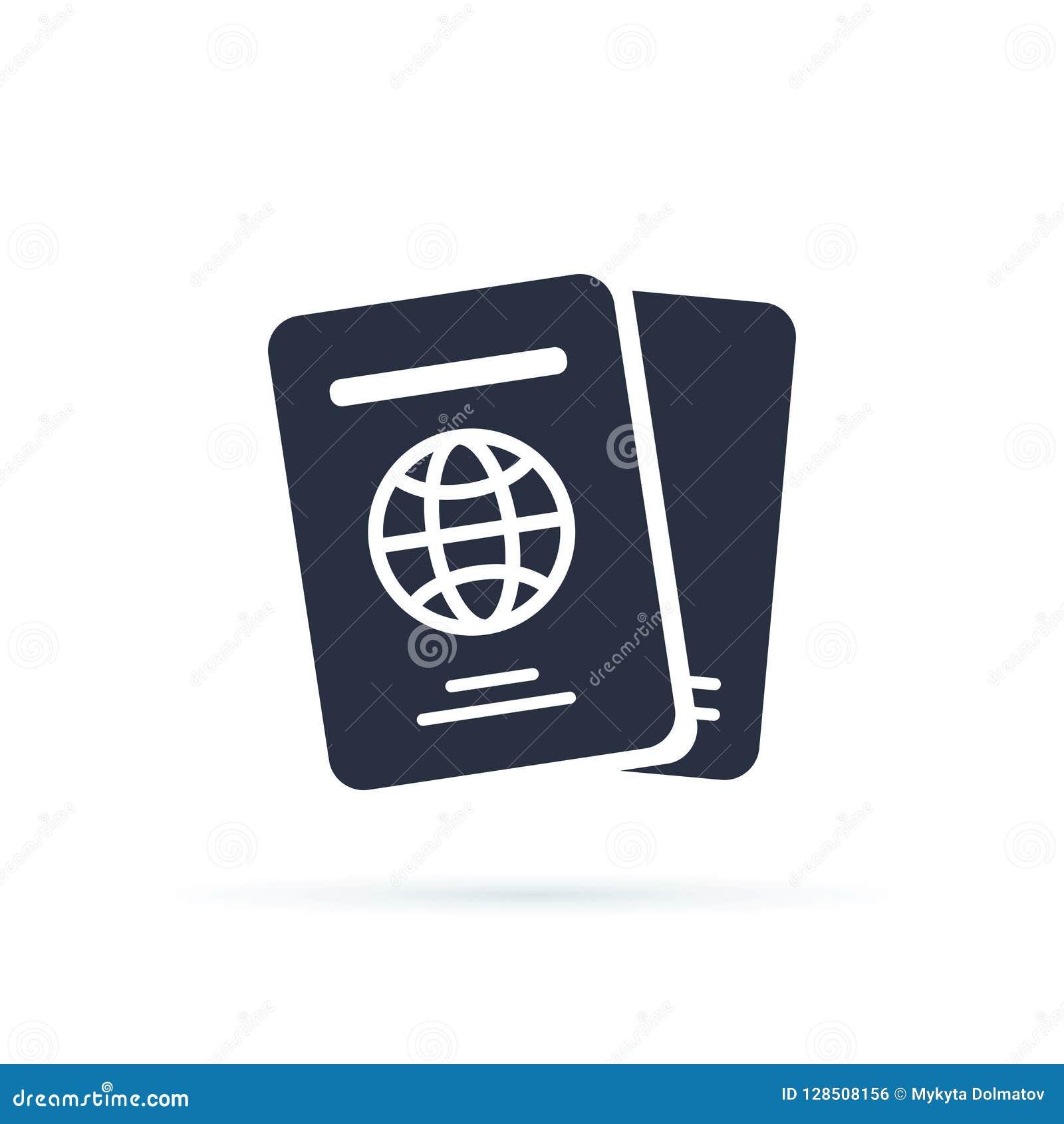 国际护照传染媒介象 流动概念和网络设计的被填装的平的标志 旅行文件简单的象