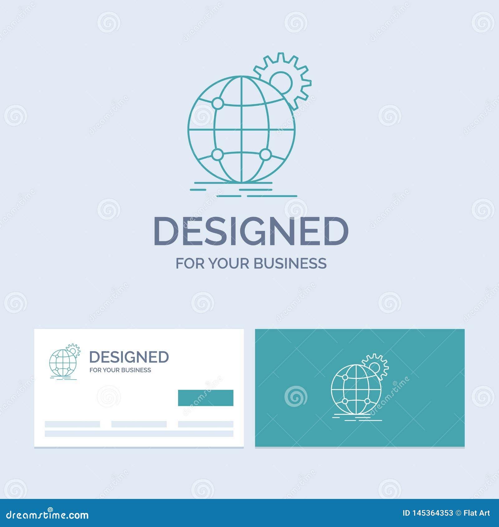 国际,事务,地球,全世界,齿轮企业商标线您的事务的象标志 r