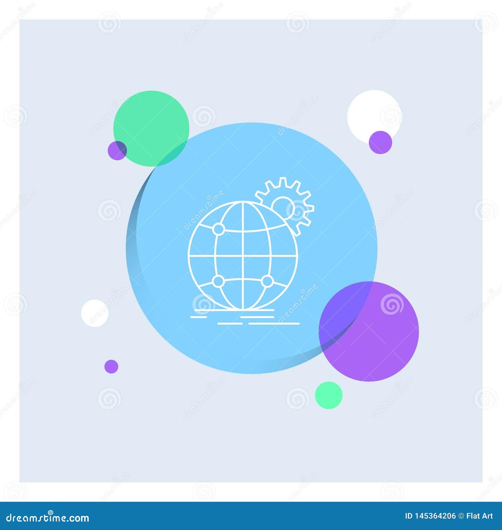 国际,事务,地球,全世界,齿轮空白线路象五颜六色的圈子背景