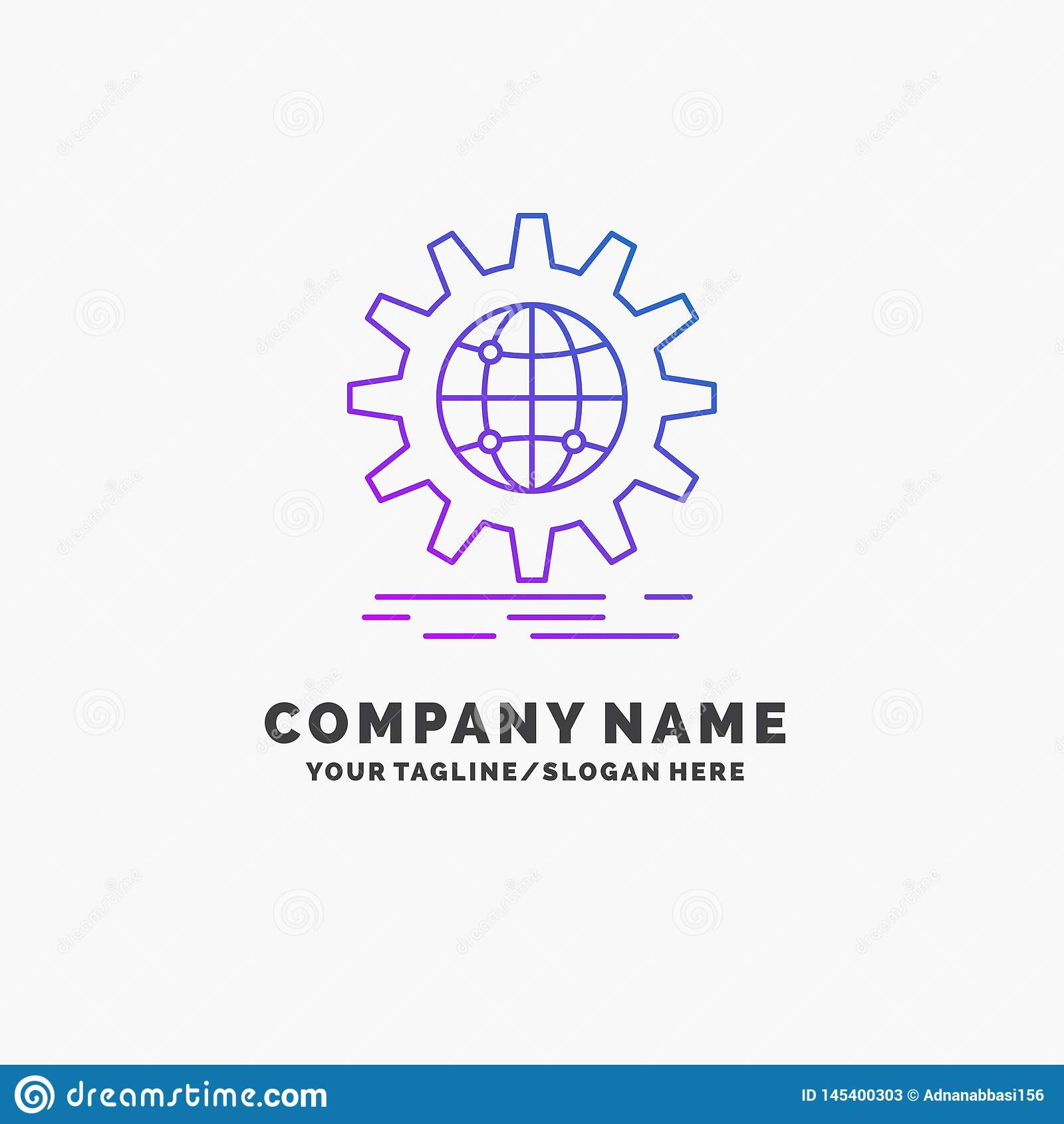 国际,事务,地球,全世界,齿轮紫色企业商标模板 r
