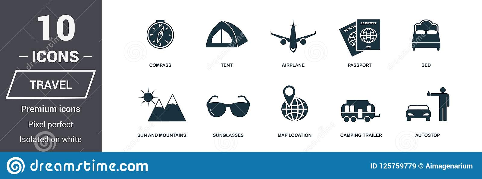 图标设置了旅行 优质质量标志收藏 蜜月象设置了简单的元素 立即可用在网络设计,应用程序,softwar
