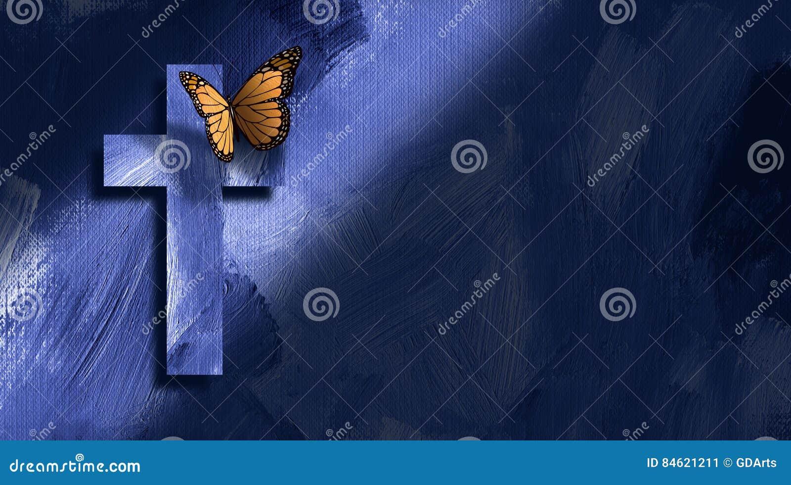图表基督徒十字架和蝴蝶