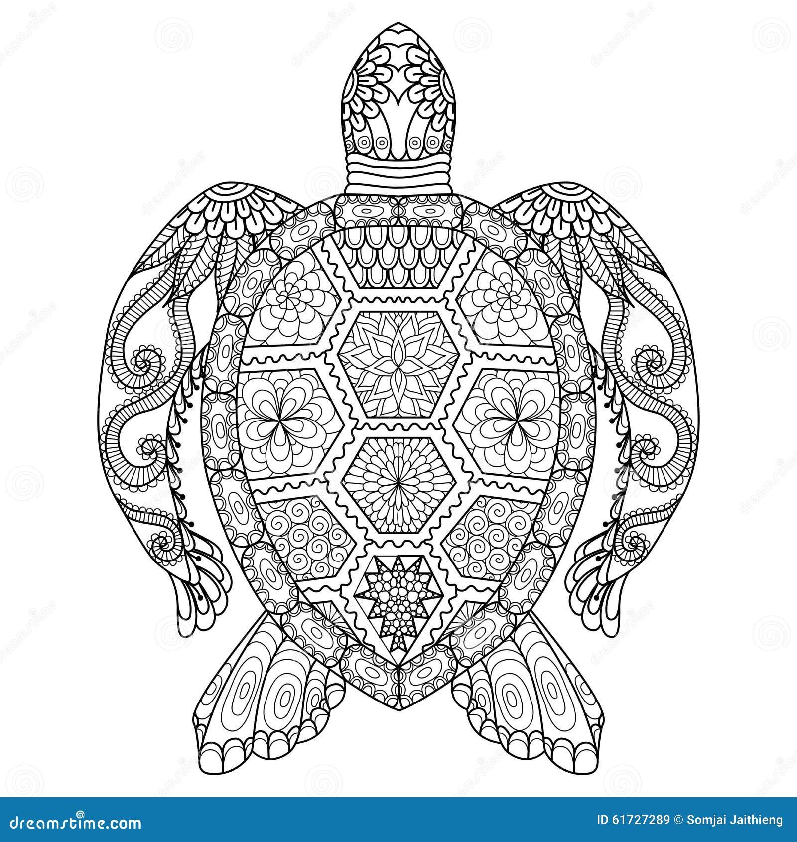 图画上色页、衬衣设计作用、商标、纹身花刺和装饰的zentangle乌龟