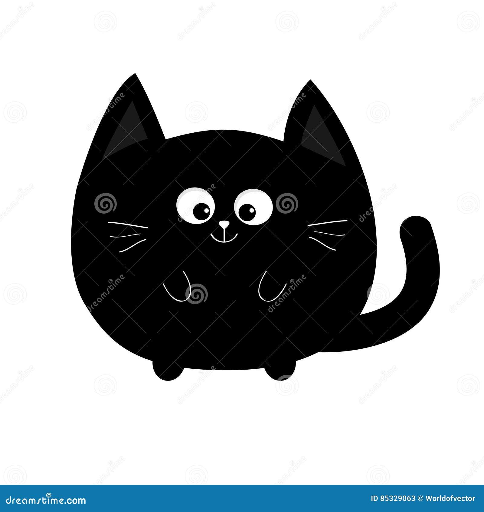 圆形恶意嘘声象 逗人喜爱的滑稽的动画片微笑的字符 Kawaii动物 大尾巴,颊须,眼睛 愉快的情感 全部赌注成套工具