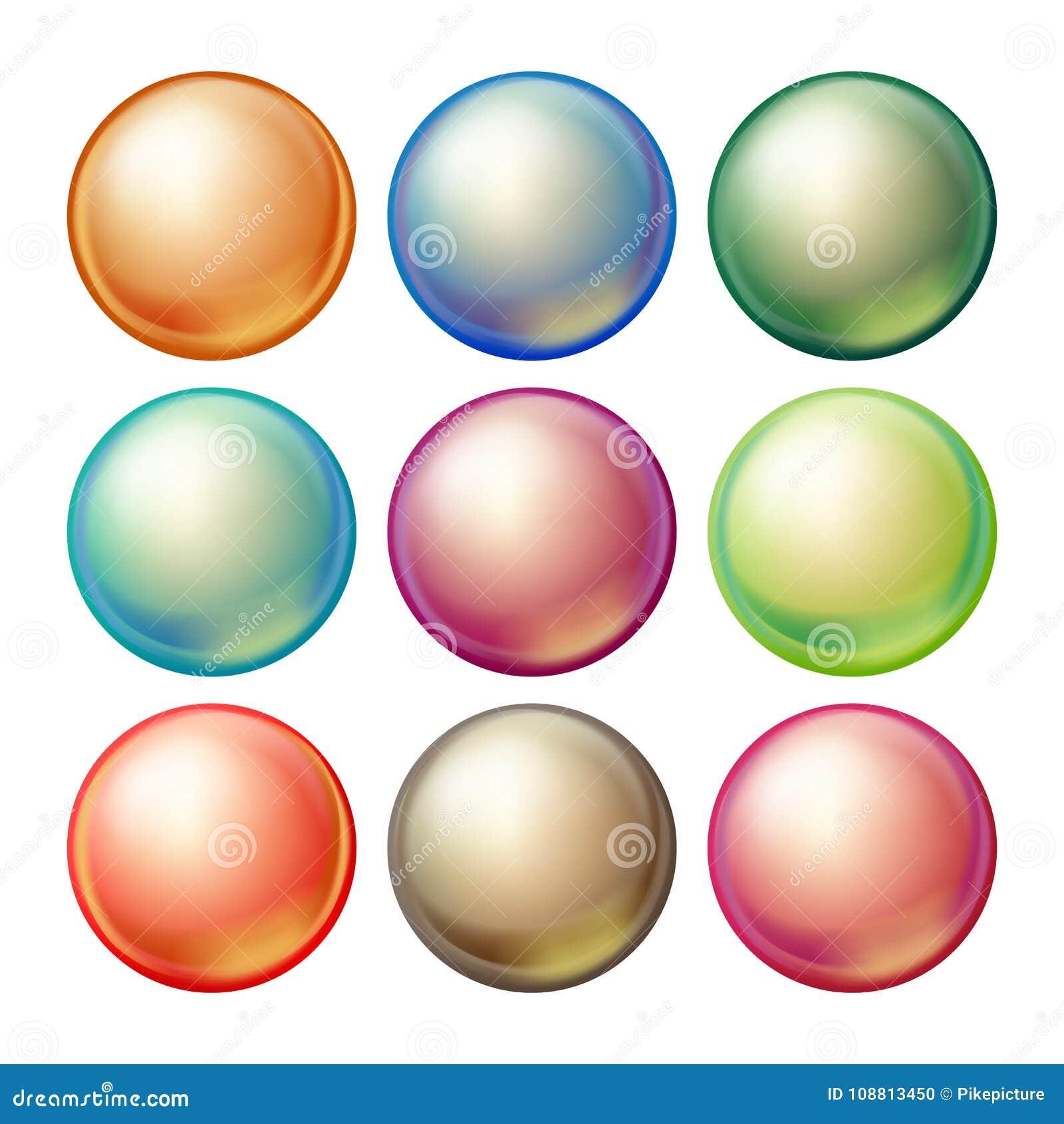 圆的玻璃球形传染媒介 与强光的集合不透明的多彩多姿的球形,阴影 被隔绝的现实例证