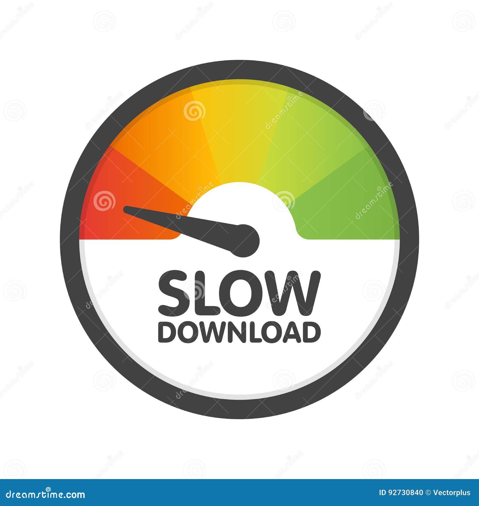 圆的车速表缓慢的下载速度 传染媒介例证模板