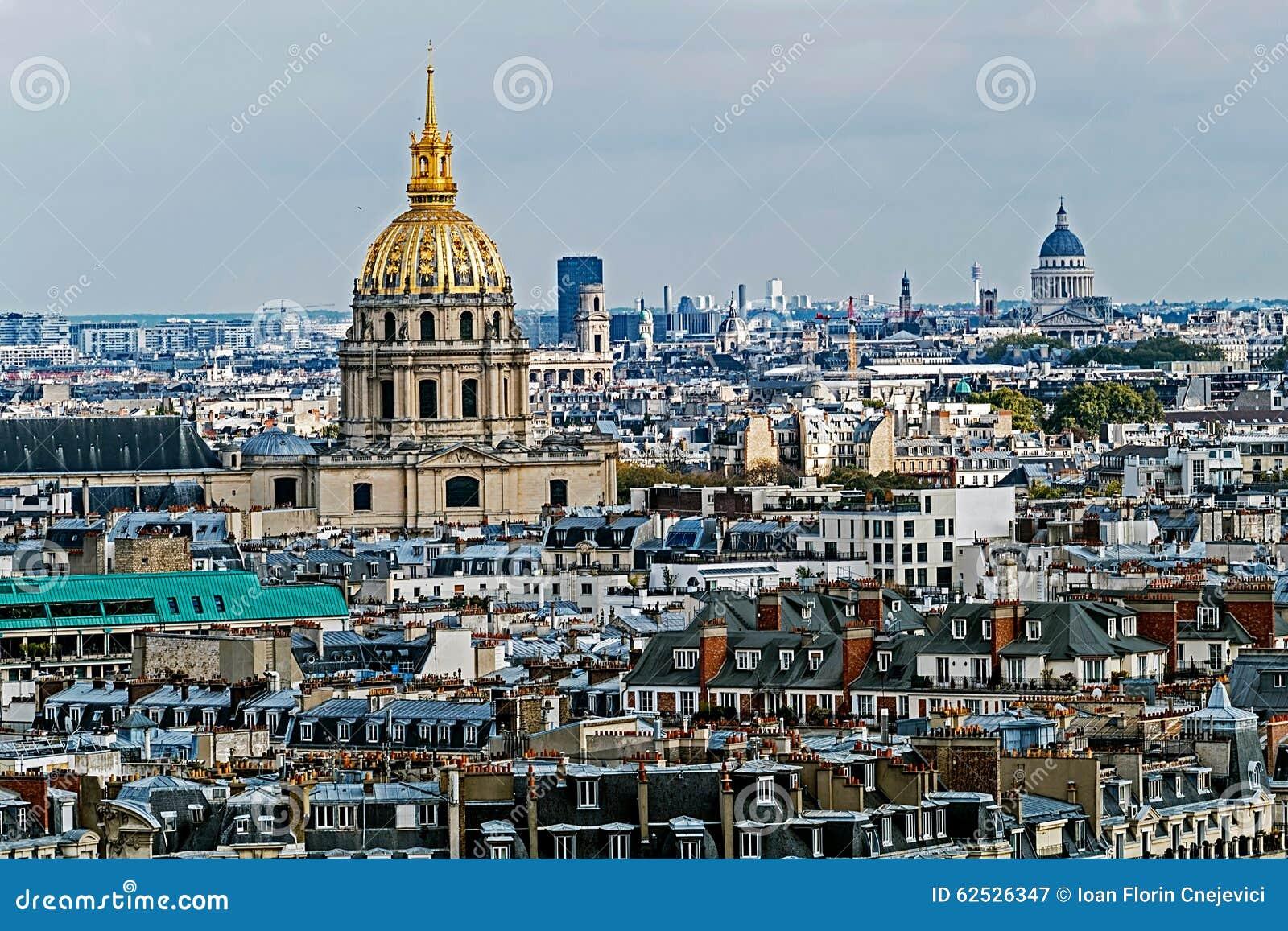 圆顶des Invalides,巴黎,法国鸟瞰图