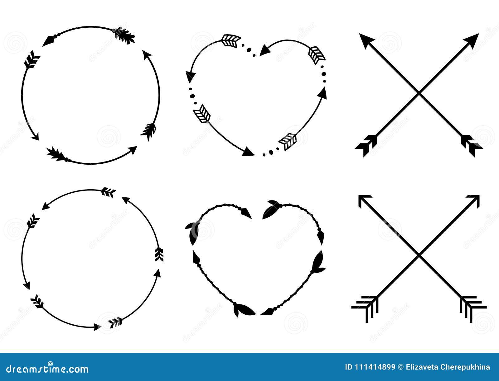 圈子和心脏箭头框架 圈子和心脏组合图案 Criss十字架行家箭头 在boho样式的箭头 部族箭头 套