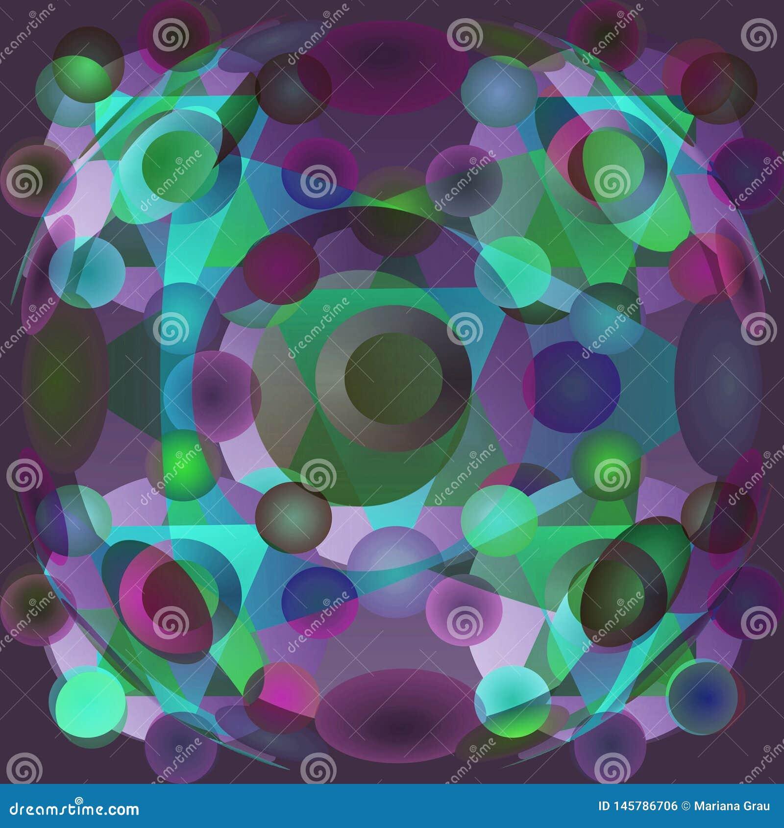 圈子坛场、辐形坛场与蓝色,紫色、绿松石和绿色圈子,平面紫色BACKGRAOUND 绿松石三角