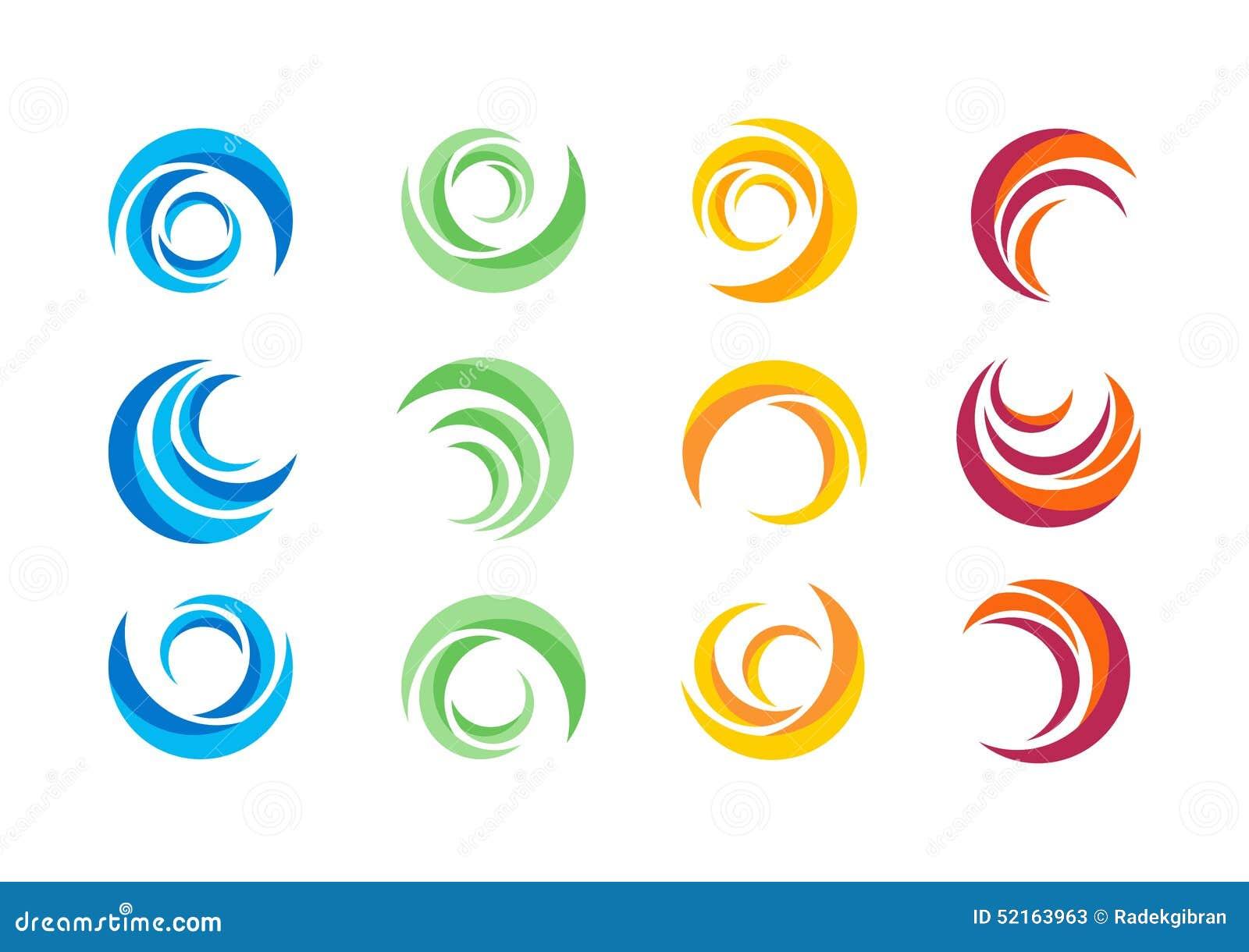 圈子,水,商标,风,球形,植物,叶子,翼,火焰,太阳,摘要,无限,套圆的象标志传染媒介设计