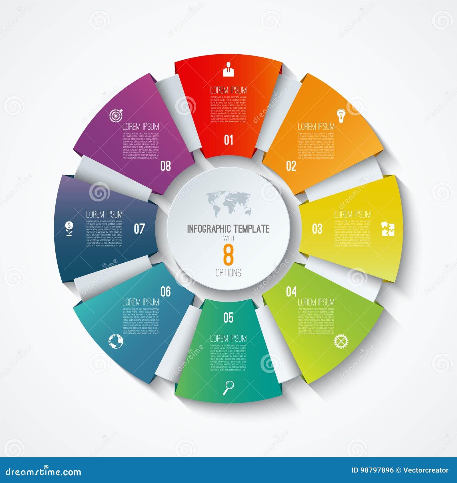 圈子infographic模板 处理轮子 传染媒介圆形统计图表 与8个选择的企业概念