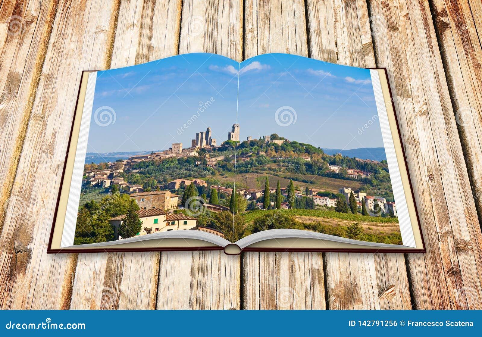 圣吉米尼亚诺意大利-托斯卡纳的中世纪镇的美丽的景色- 3D在白色隔绝的回报一本被打开的照片书