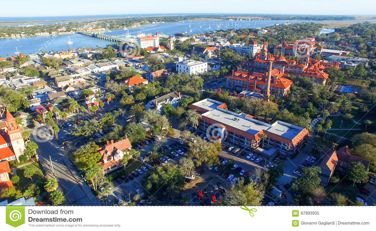 圣奥斯丁,佛罗里达 在黄昏的鸟瞰图