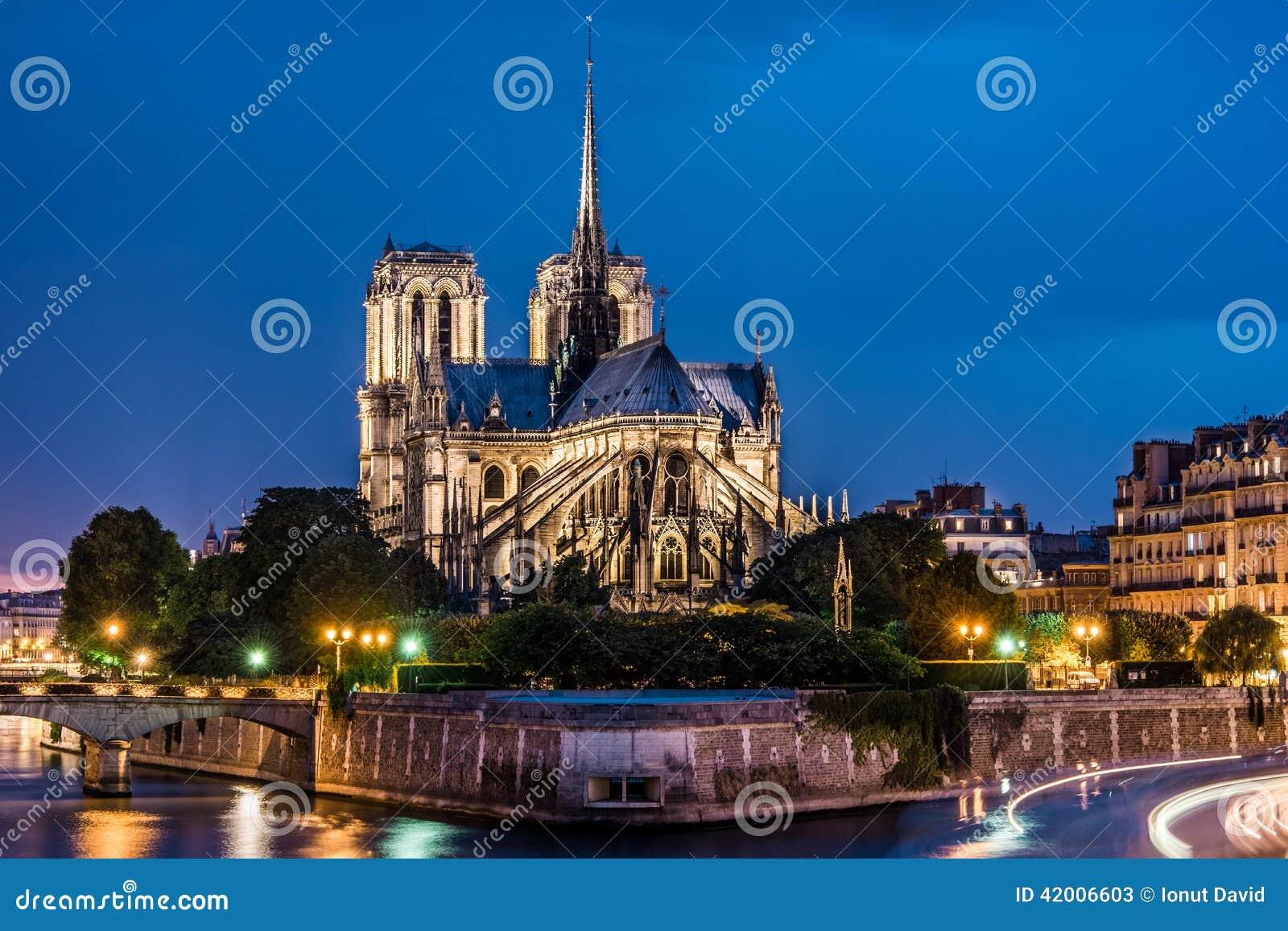 巴黎圣母院大教堂夜视图