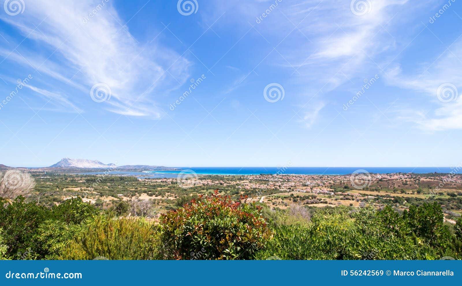 圣特奥多罗海岸的全景在撒丁岛