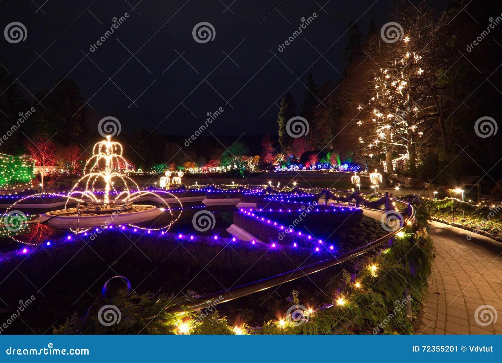 圣诞前夕在Butchart庭院里