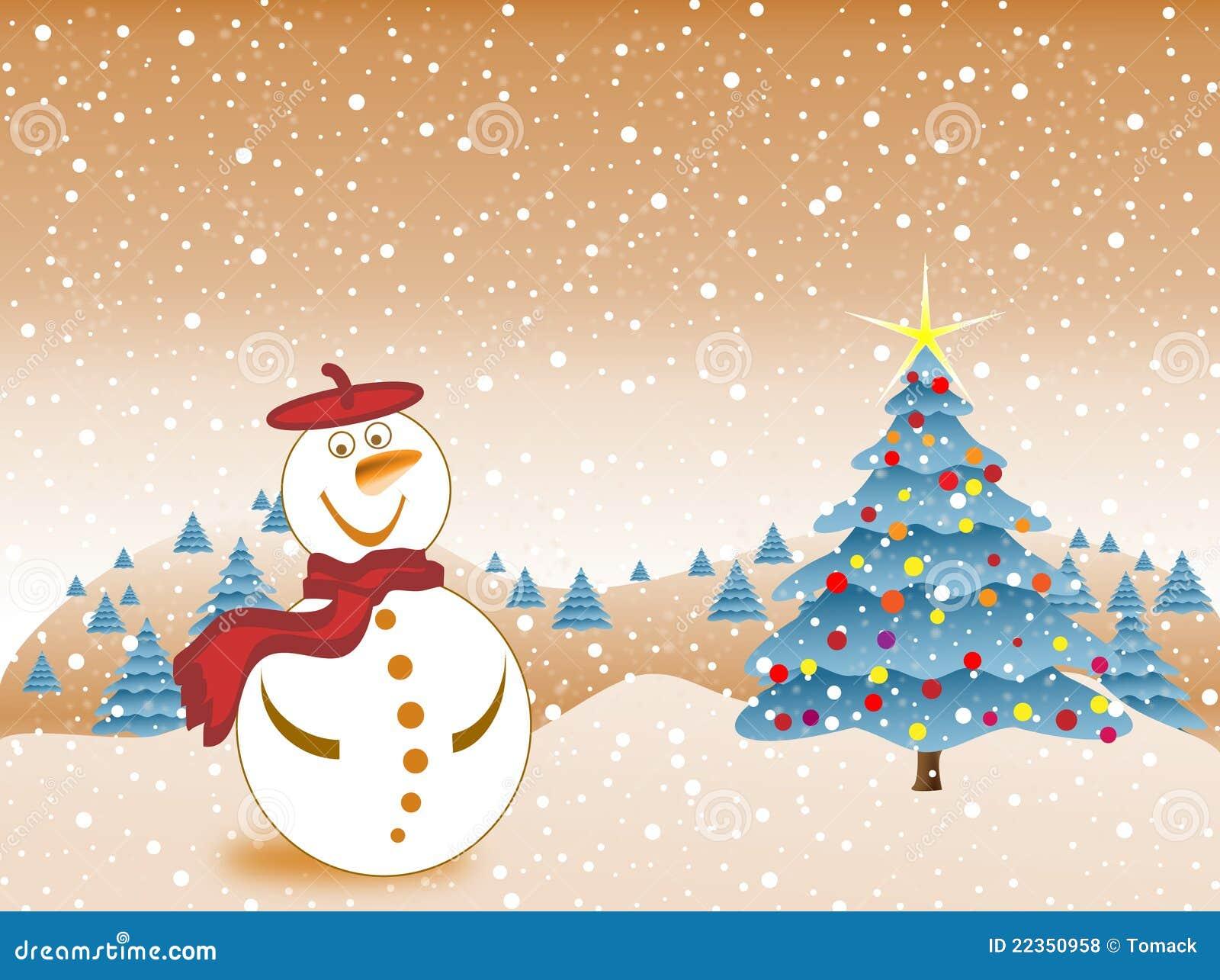 圣诞前夕愉快的雪人