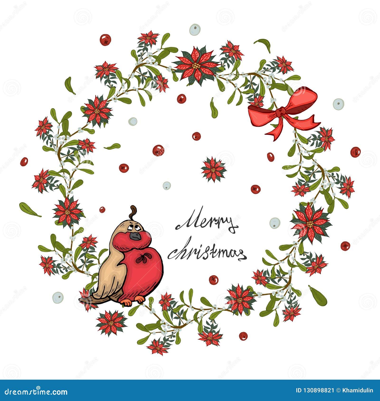 圣诞卡片、横幅与红色一品红花花圈,槲寄生与响铃和弓