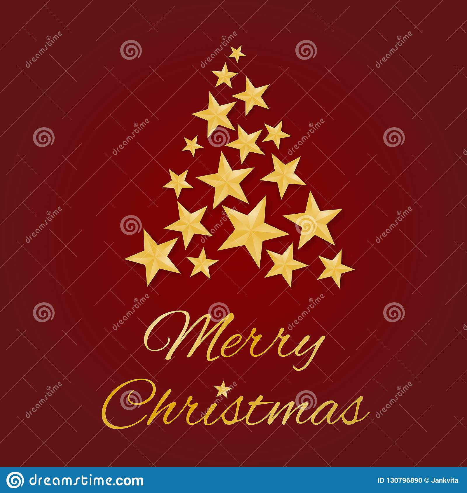圣诞快乐与金黄星的贺卡传染媒介在一棵树的形状在红色背景的