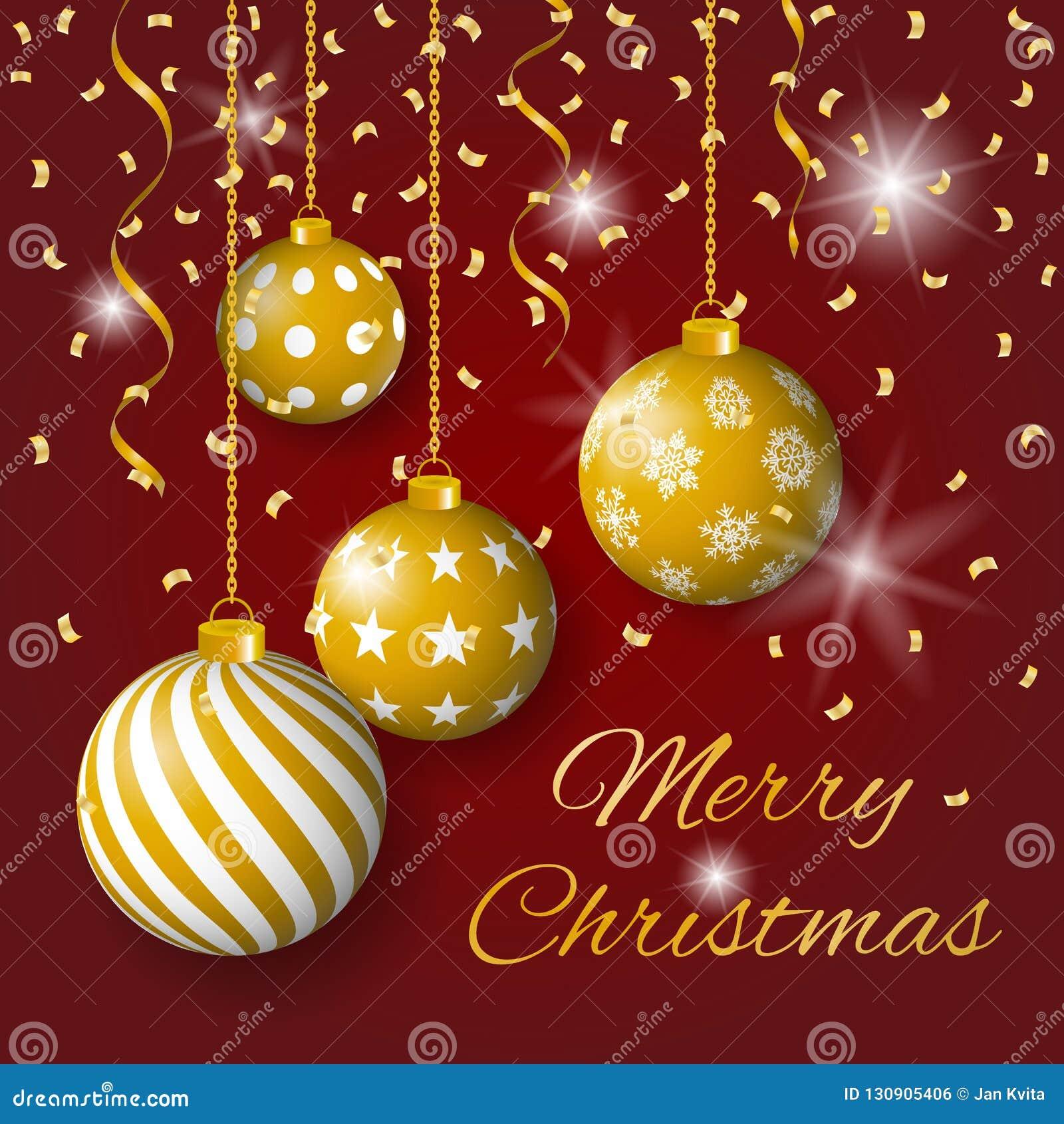 圣诞快乐与金黄电灯泡、星和五彩纸屑的贺卡传染媒介在红色背景