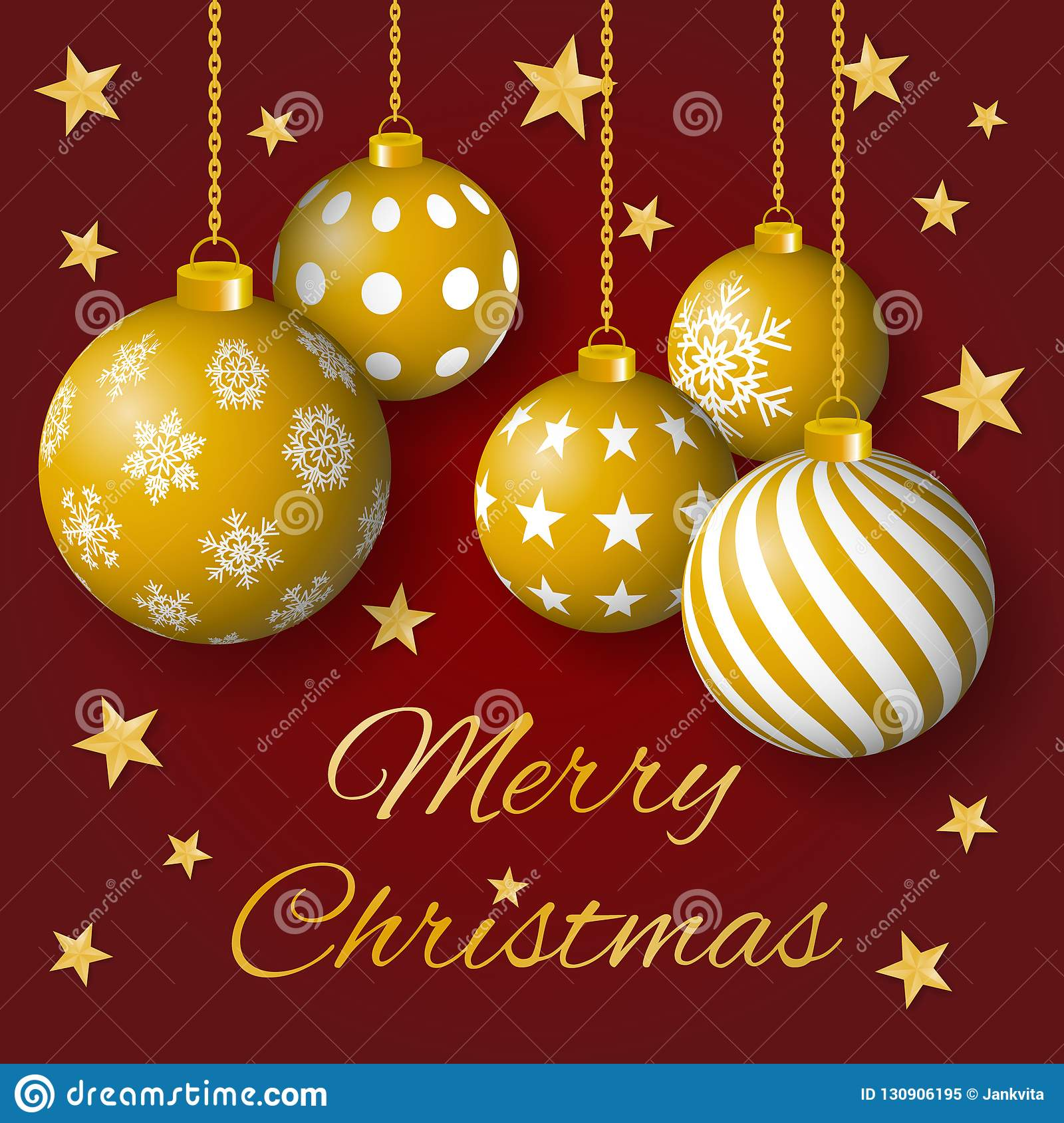 圣诞快乐与金黄电灯泡和星的贺卡传染媒介在红色背景