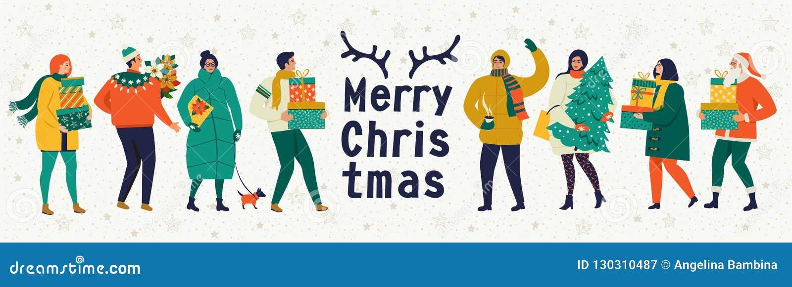 圣诞快乐和新年好导航与冬天比赛和人的贺卡 与演奏逗人喜爱的peopl的庆祝模板