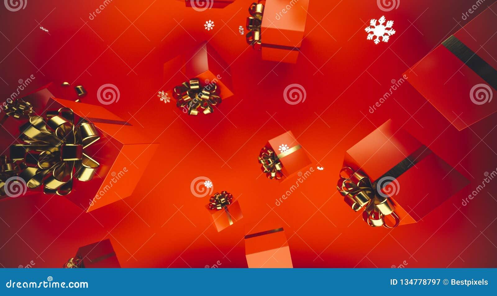 圣诞快乐和新年好 与礼物盒的背景 3d例证 Xmas装饰元素