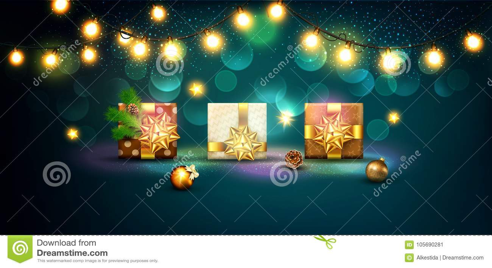 圣诞快乐和新年快乐的传染媒介例证 Gre
