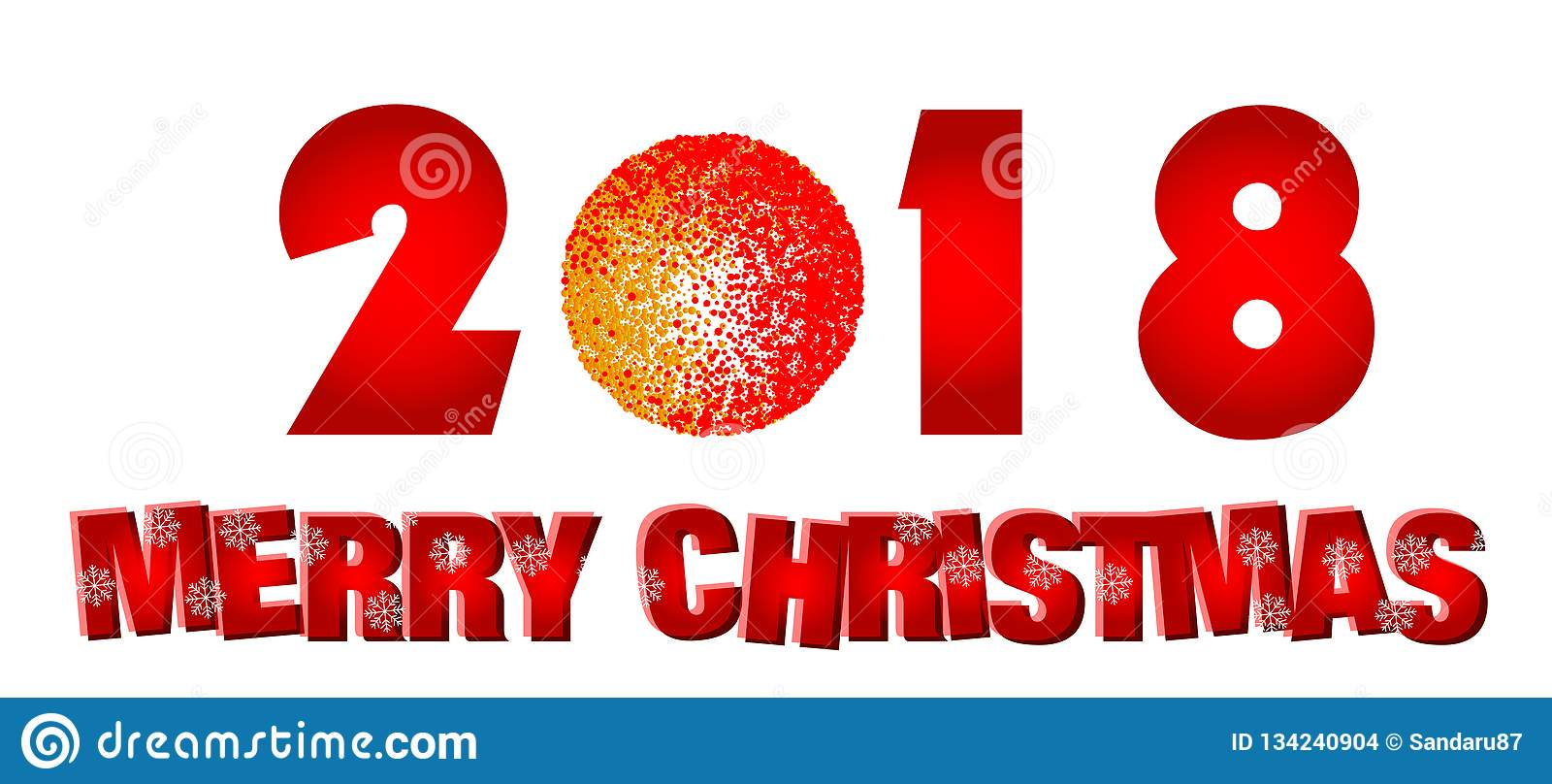 圣诞快乐在白色背景的2018年招呼的文本设计象