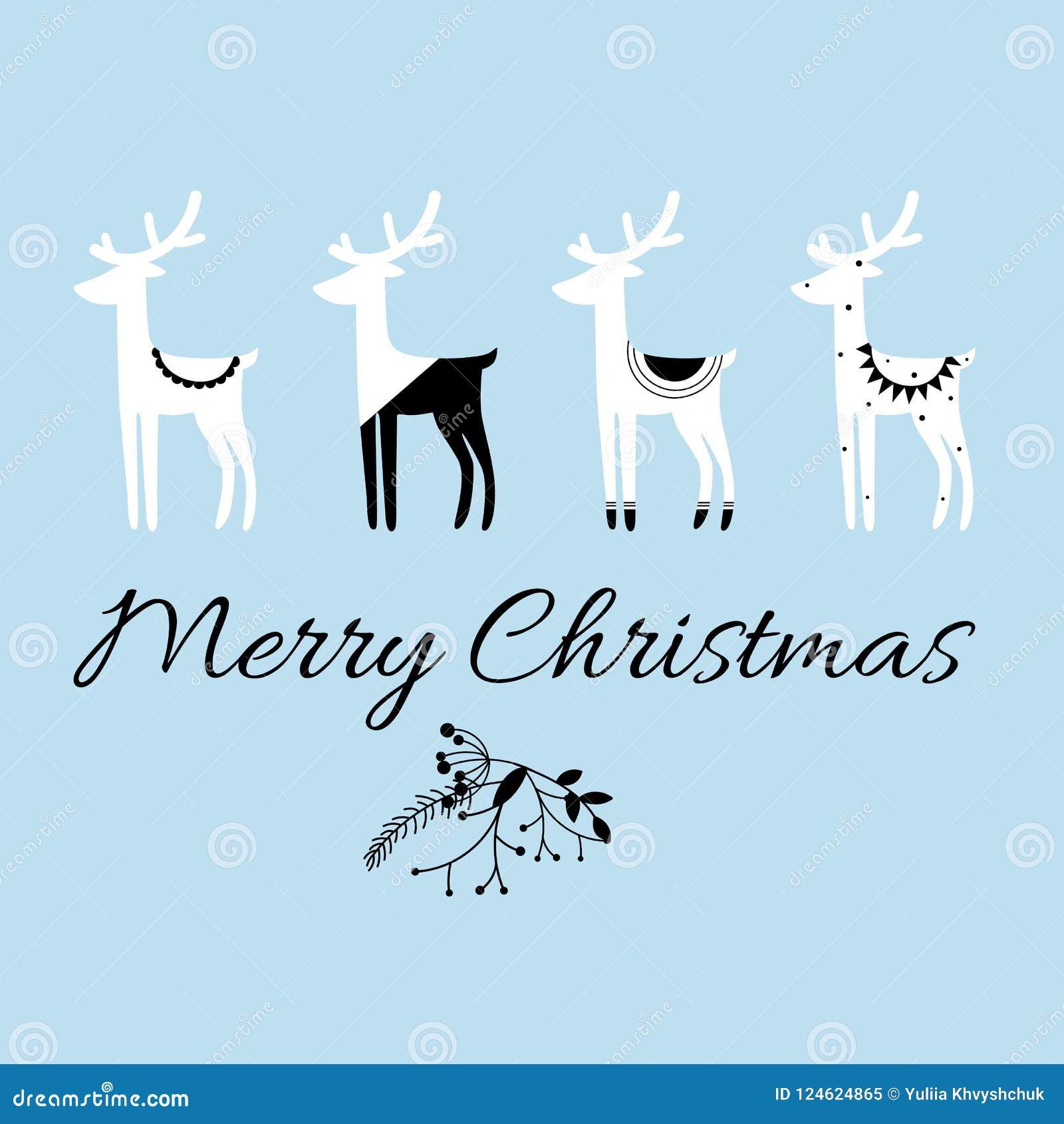 圣诞快乐行情、传染媒介文本和斯堪的纳维亚样式鹿`设计贺卡、印刷品、海报, t短裤和其他的s