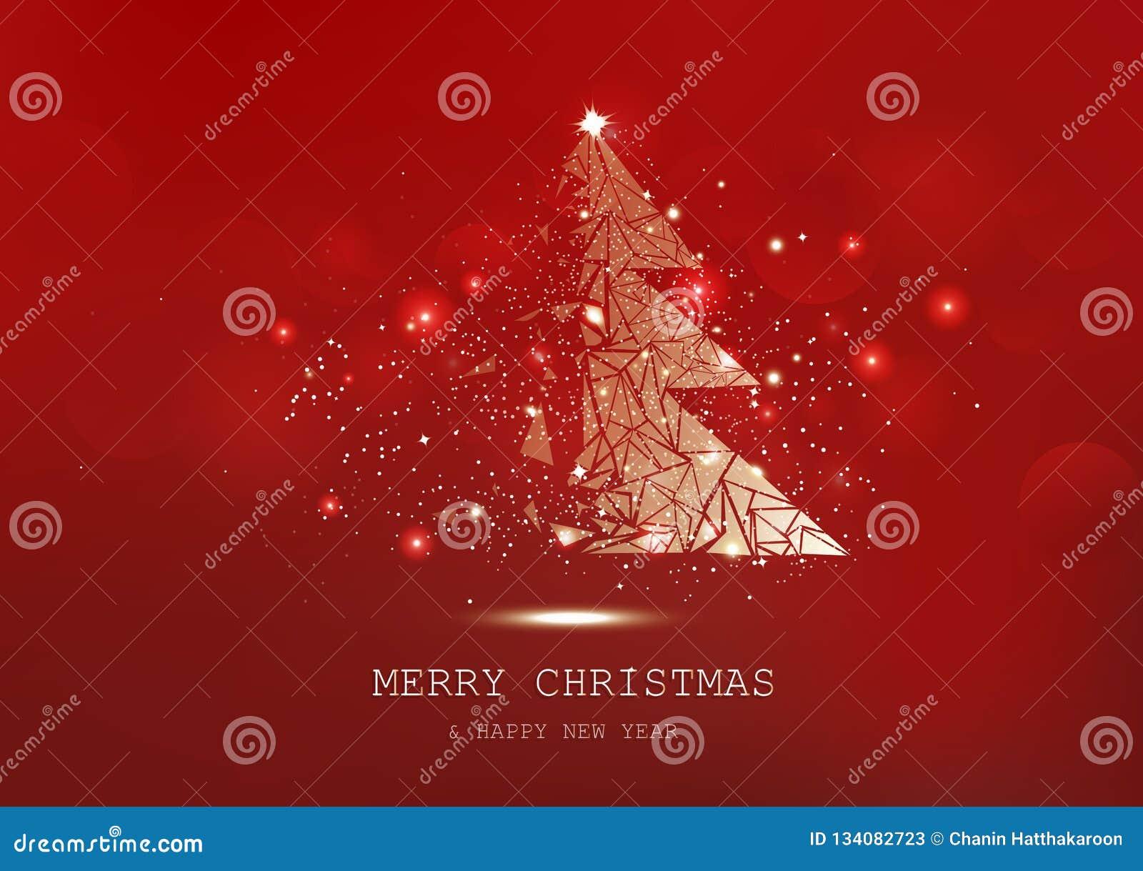 圣诞快乐,树多角形,五彩纸屑,金黄发光的微粒驱散,海报,明信片红色豪华背景季节性假日