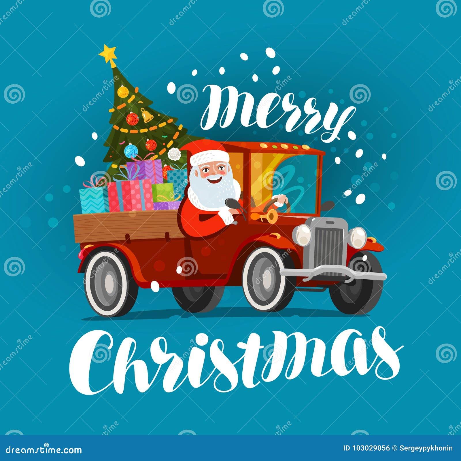 圣诞快乐,贺卡 愉快的圣诞老人乘坐用礼物装载的减速火箭的汽车 Xmas传染媒介例证