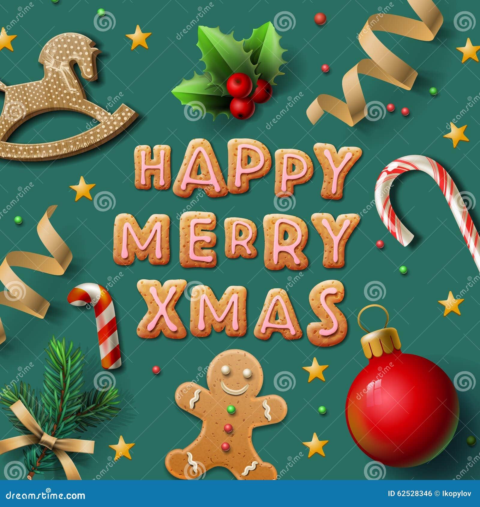 圣诞快乐贺卡用曲奇饼
