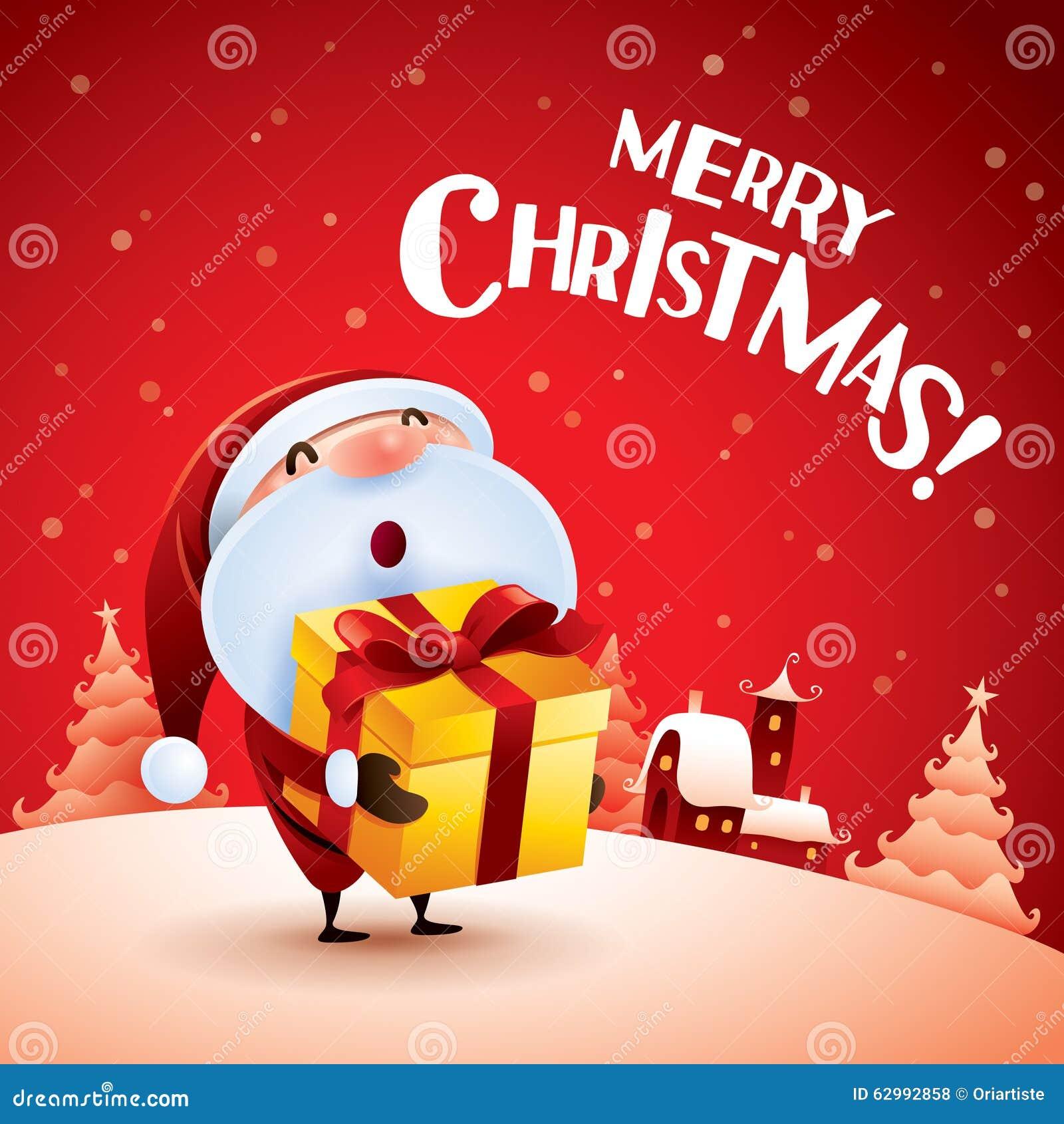 给圣诞节礼物的圣诞老人 向量例证 - 图片图片