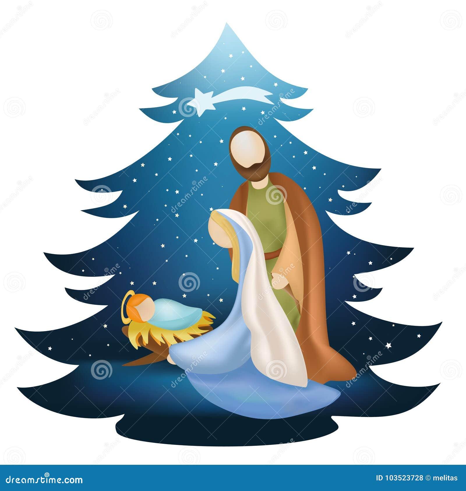 圣诞树与圣洁家庭的诞生场面在蓝色背景
